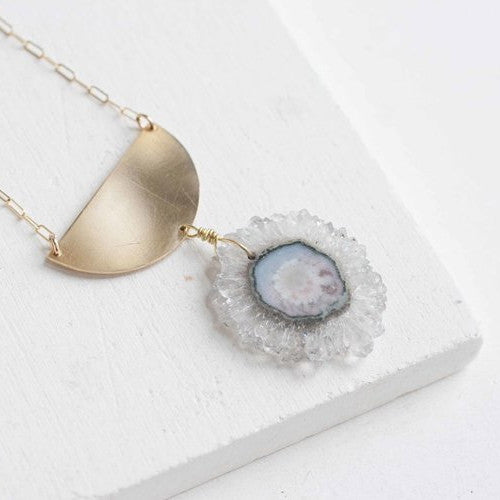Semicircle + Amethyst Necklace