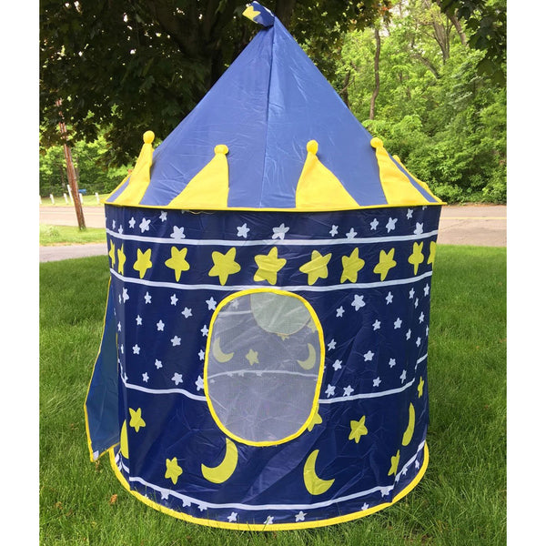 Tent Toy Prince Playhouse - Toddler Play House Blue Castle for Kid Children Boys Girls Baby for Indoor & Outdoor Toys Foldable Playhouses Tents with Carry Case Great Birthday Gift Idea