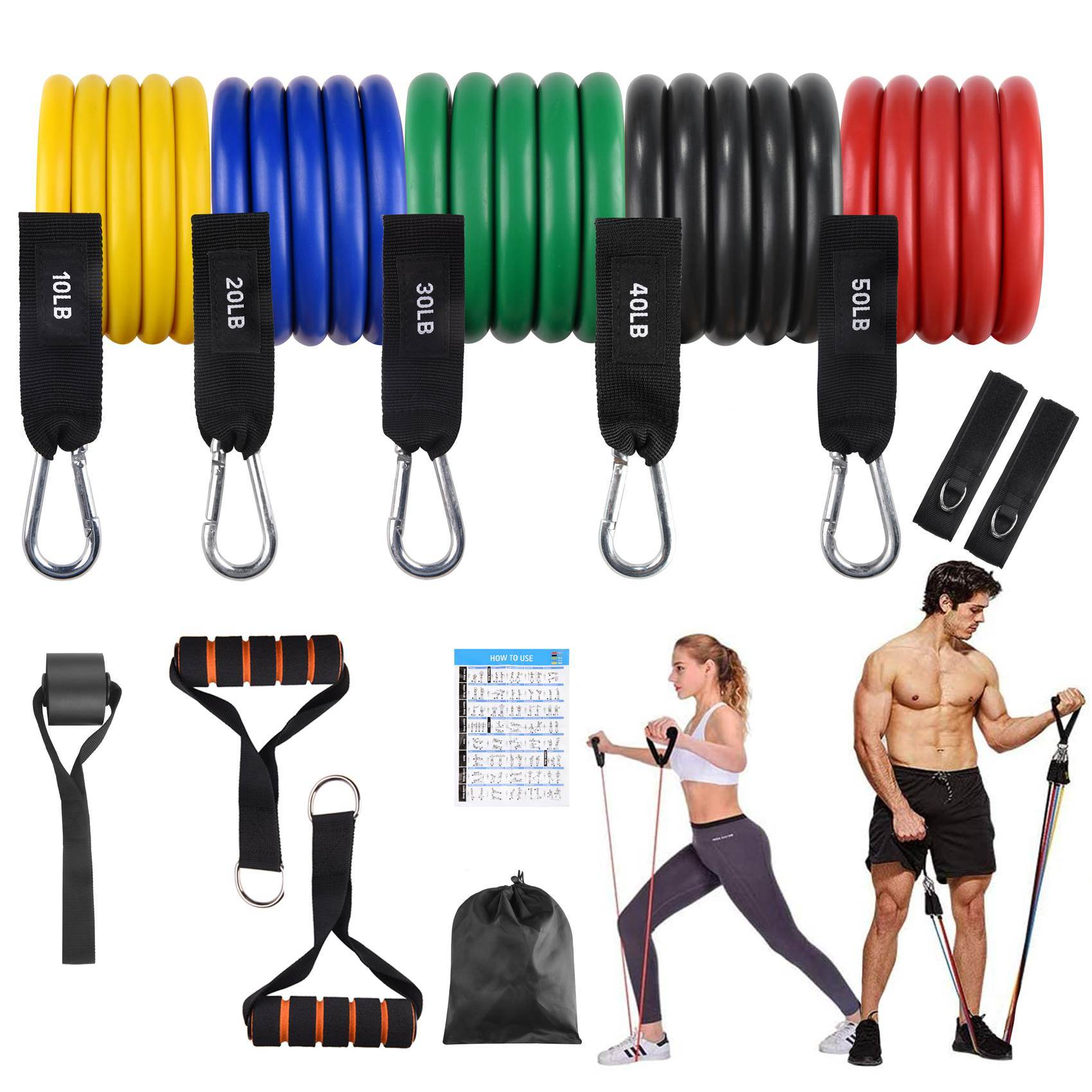 FITFIT Resistance Bands Set, 5 Stackable Tube Exercise Bands with 2 Handles, 1 Door Anchor, 2 Ankle Straps, 1 Carrying Bag for Your Whole Body Resistance Workouts Training