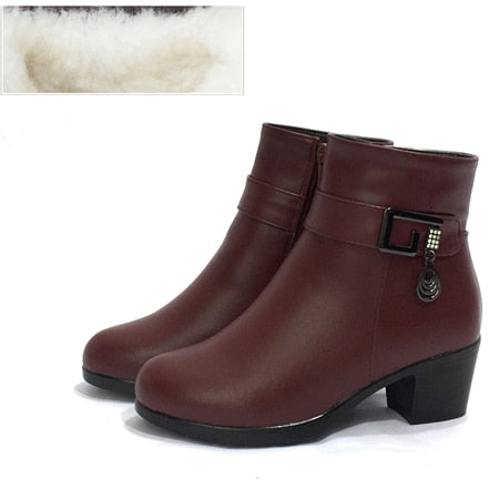 Leather women boots winter thick wool