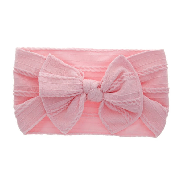 Big Bow Soft Nylon Headbands Flower Print Nylon Turban Hairband