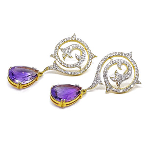 Beautiful Diamond and Amethyst Dangling Earings