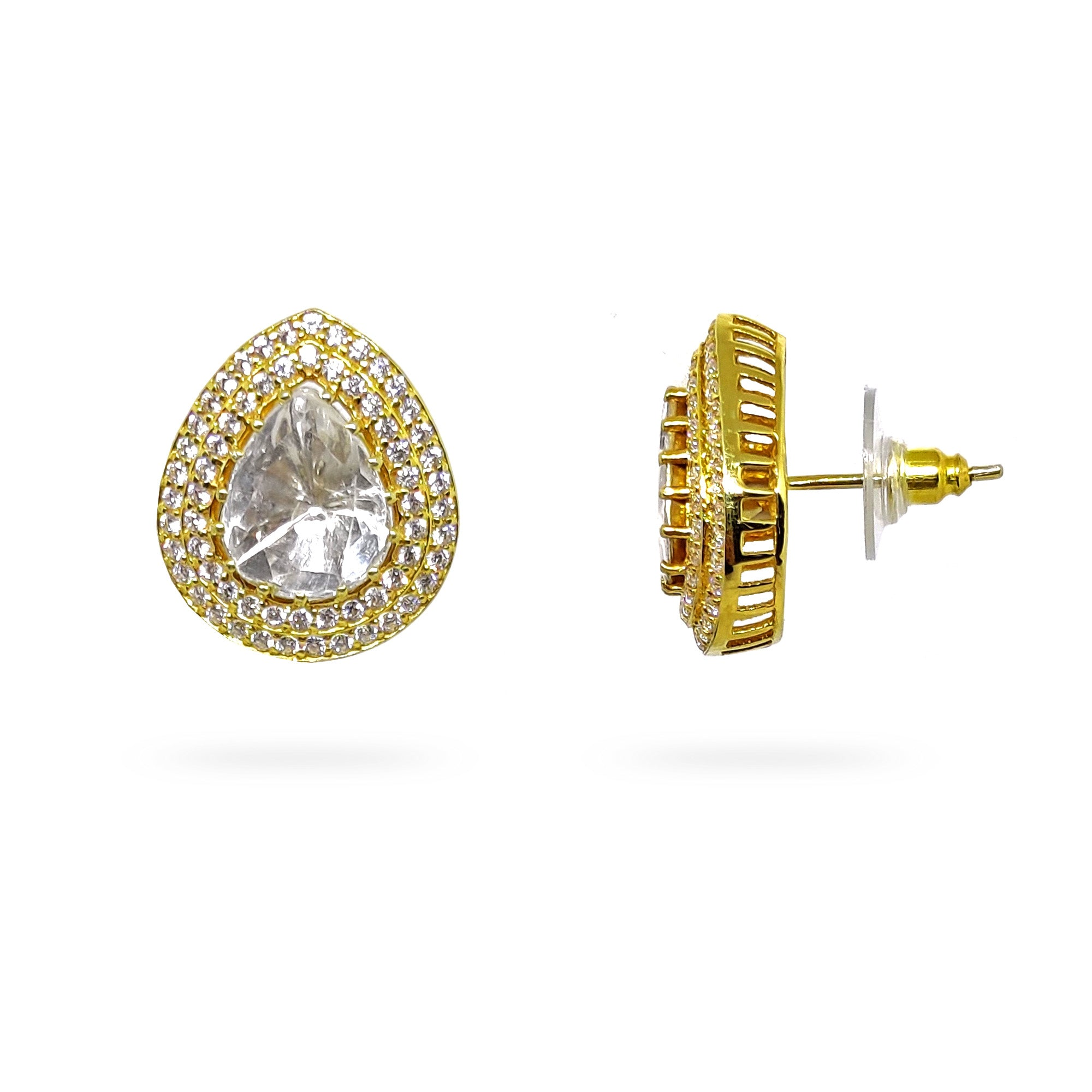 Classic & Regal Polki With Diamond Inspired Stud Earrings