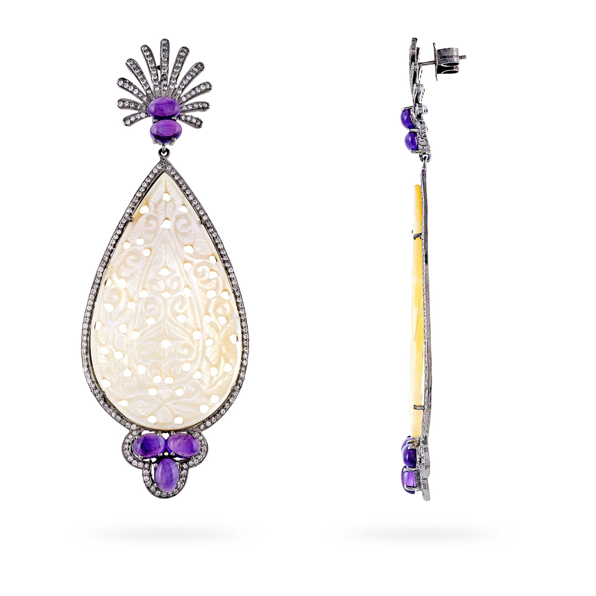 Majestic Carved Mother Of Pearl & Amethyst Victorian Chandelier Earrings