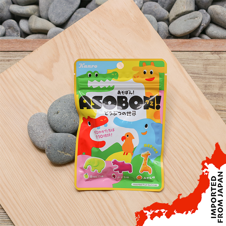 Kanro Asobon! Assorted Animal Fruit Gummies - 52g