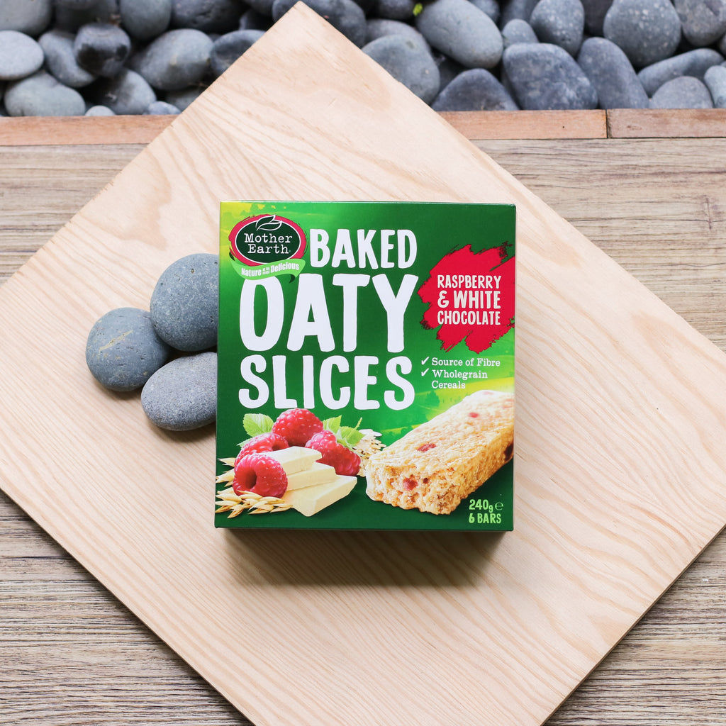 Mother Earth Baked Oaty Slices Raspberry & White Chocolate - 240g