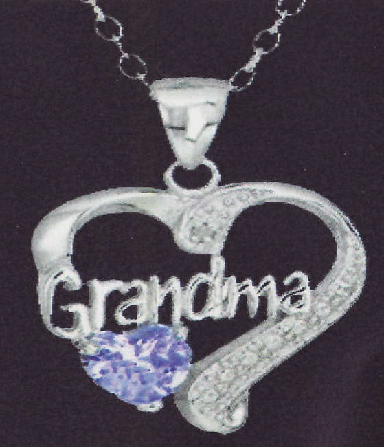Grandma Lavender Heart Necklace