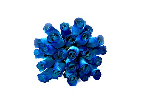 Realistic Blue Wooden Roses - Bouquet of 24
