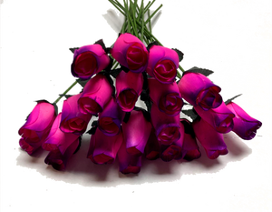 Realistic Hot Pink Roses with Purple Tips - Bouquet of 24