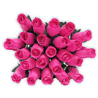 Realistic Pink Wooden Roses - Bouquet of 24