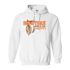 Hooters Makes You Happy Hoodies-White-Small (S)-