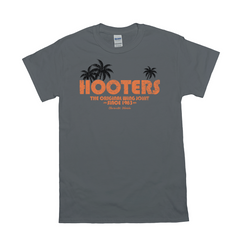 Hooters Throwback Palm T-Shirts-Charcoal-Small (S)-