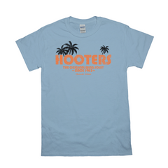Hooters Throwback Palm T-Shirts-Light Blue-Small (S)-
