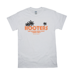 Hooters Throwback Palm T-Shirts-White-Small (S)-