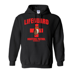 Hooters Lifeguard Pullover Hoodies-Black-Small (S)-