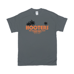 Hooters Throwback Palm T-Shirts-Charcoal-Medium (M)-