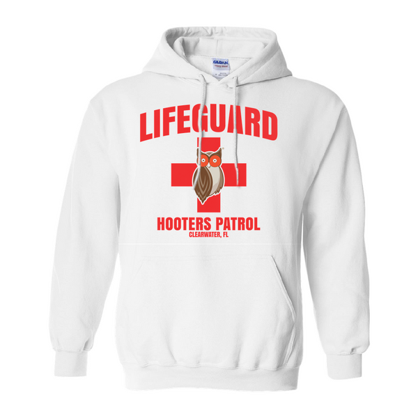 Hooters Lifeguard Pullover Hoodies-White-Small (S)-