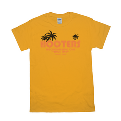 Hooters Throwback Palm T-Shirts-Gold-Small (S)-