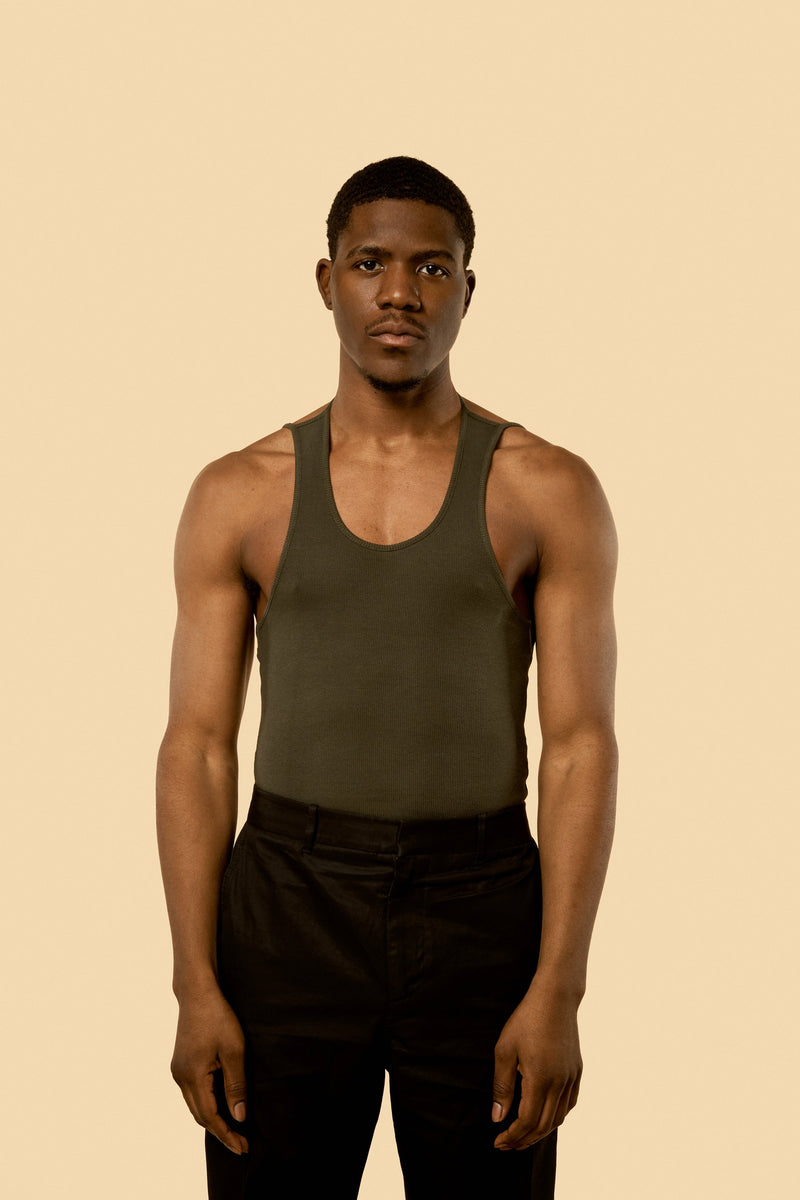 "Dark Olive ""Ian"" Ribbed Tank"