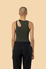 "Dark Olive ""Romain"" Ribbed Tank"
