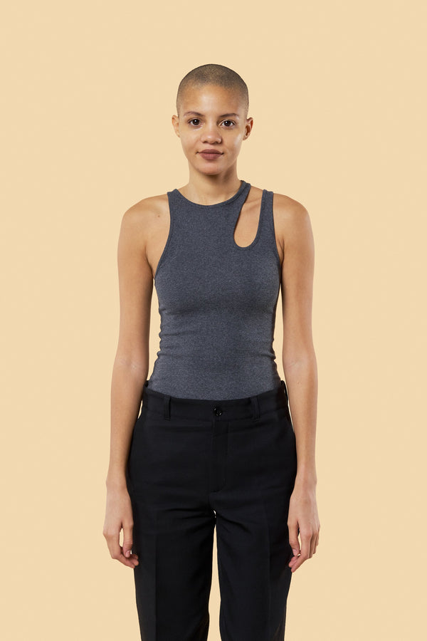 "Grey ""Romain"" Ribbed Tank"