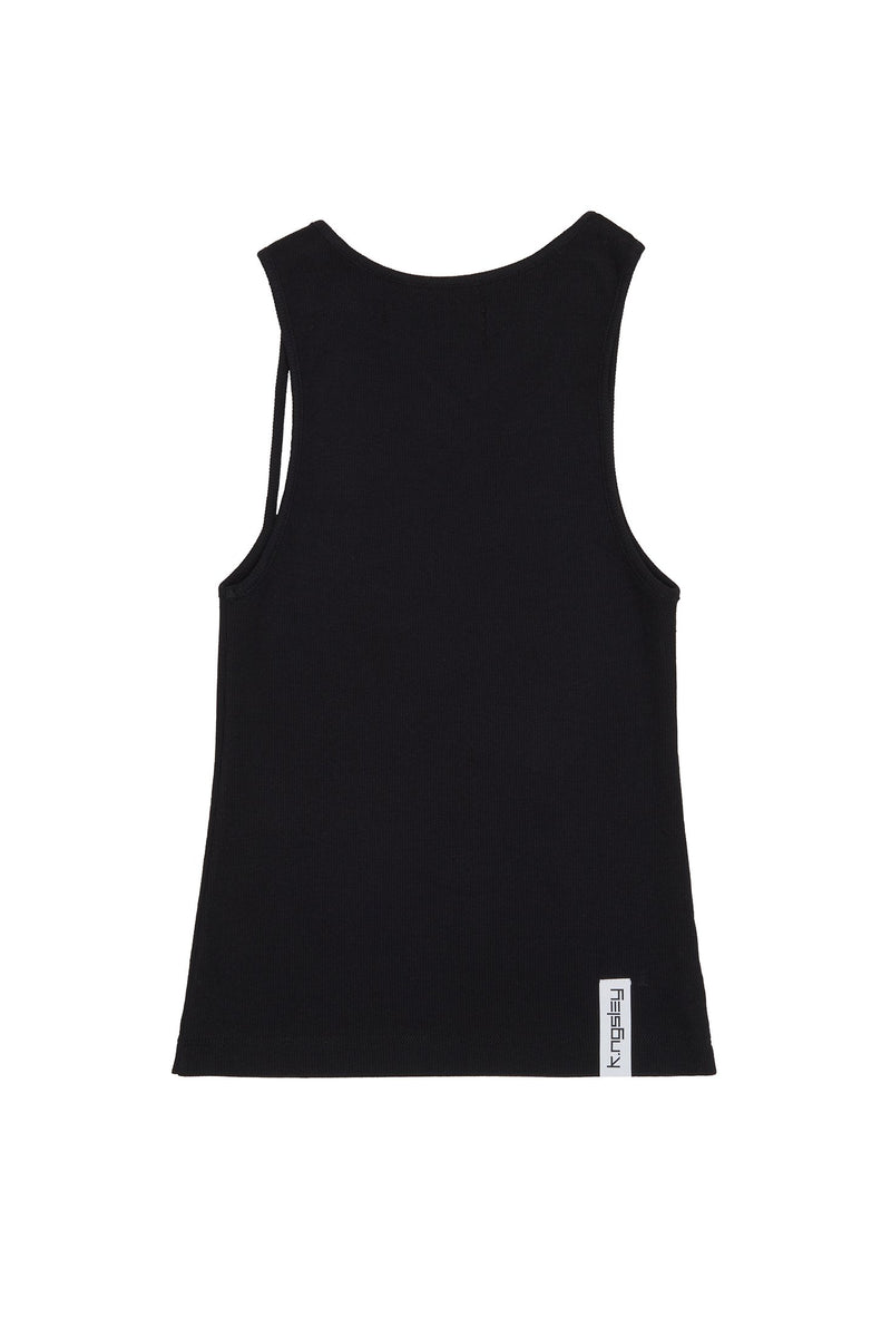 "Black ""FIST"" Ribbed Tank"