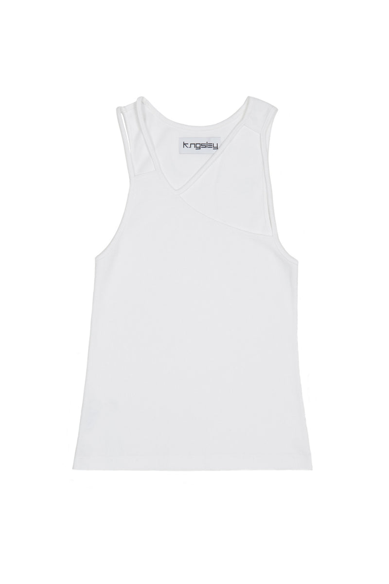 "White ""FIST"" Ribbed Tank"