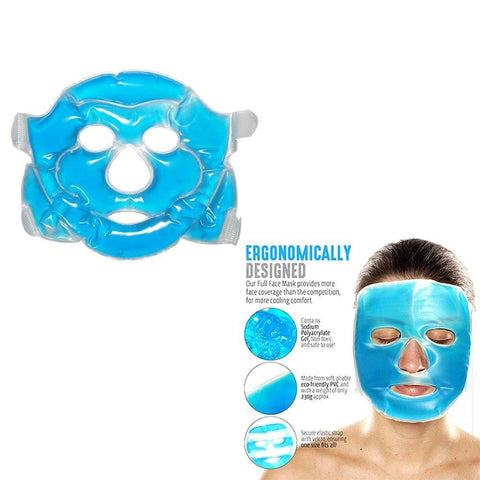Reusable Cooling Gel Face Mask with Strap-on Velcro, Medium