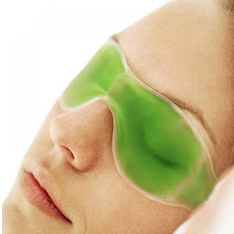 Cold Eye Mask with Stick-on Straps (Green)