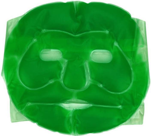 Plastic Reusable Anti Stress Cooling Gel Face Mask with Strap-on Velcro (Green)
