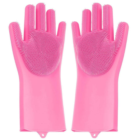 Reusable Silicone Cleaning Brush Scrubber Gloves (Multicolor)