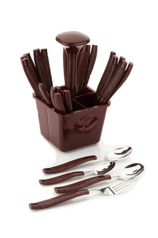 Stainless Steel Cutlery Set with Plastic Storage Box (24 Pieces - Brown)