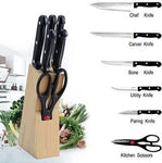 Kitchen Knife Set with Wooden Block and Scissors (5 pcs, Black)