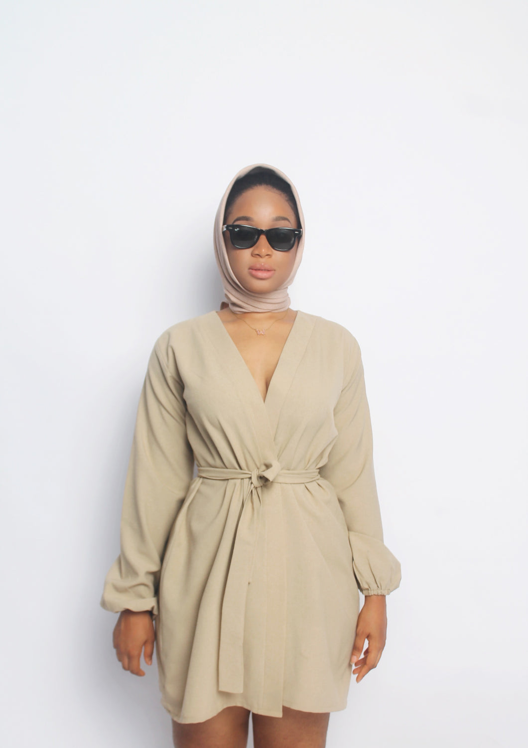Beige Balloon sleeve Wrap Top dress