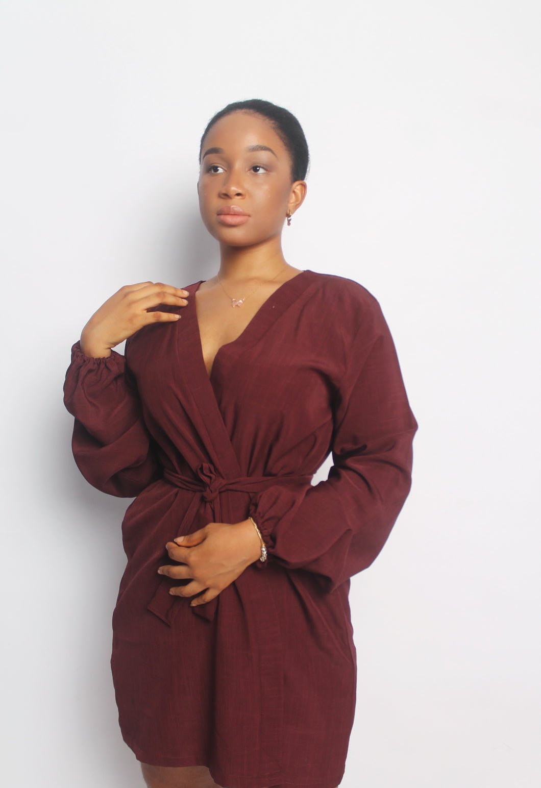 Claret Balloon-sleeve wrap Top|Dress