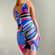 Load image into Gallery viewer, The Blue Girl Digital Painting Art Printed Spandex Playsuit Romper