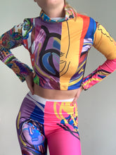 Load image into Gallery viewer, Mixed Art Print Patchwork Cropped Long Sleeve 1