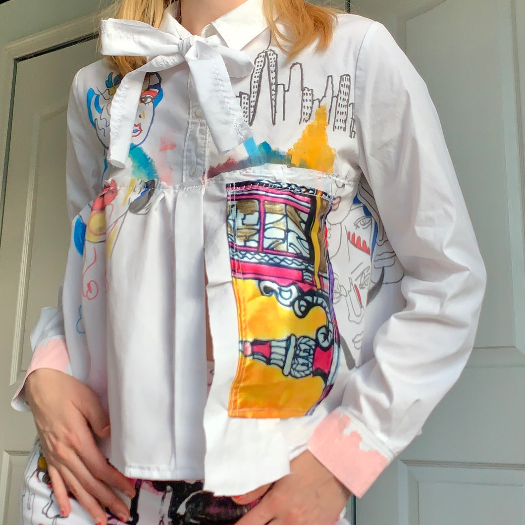1of1 Crayola Girl Tieable Scrap Art Print Button Down