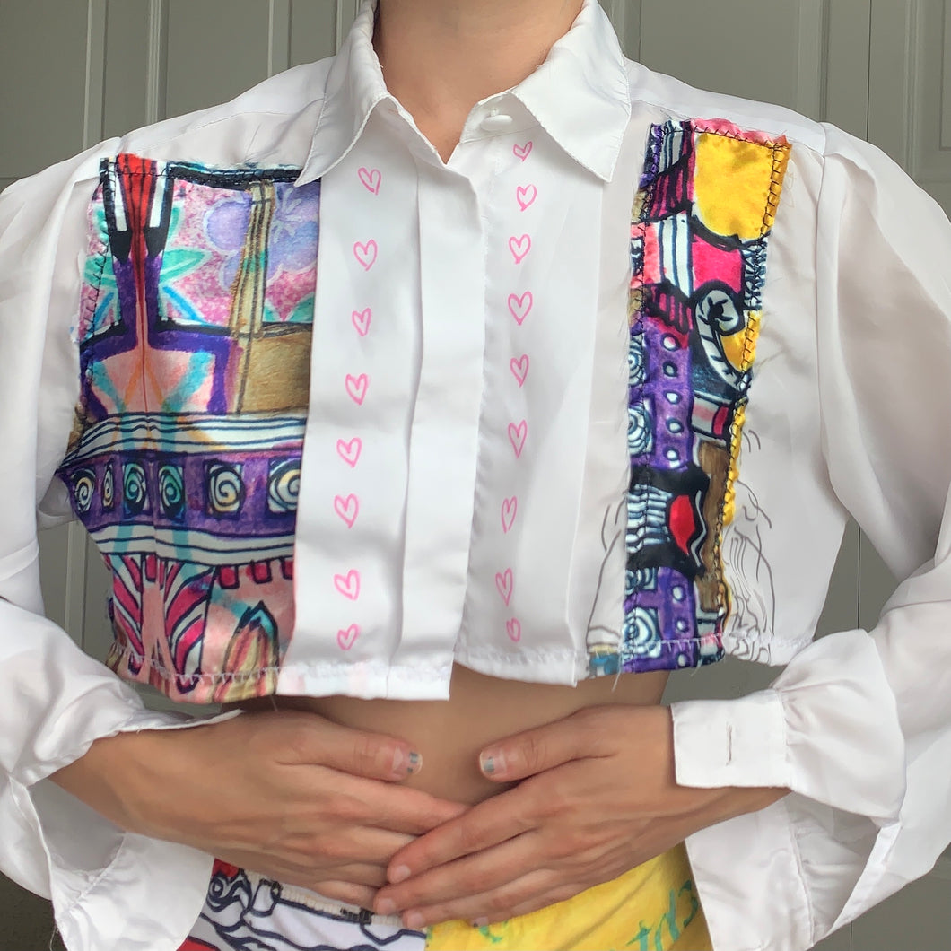 1of1 Patchwork Satin Art Print Cropped Button Down