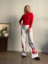 Load image into Gallery viewer, Art Nouveau Hand Painted White Bell Bottom Pants