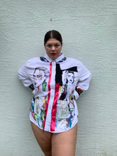 Load image into Gallery viewer, UNISEX Painter's Upcycled & Art Printed Long Button Down Blouse #41