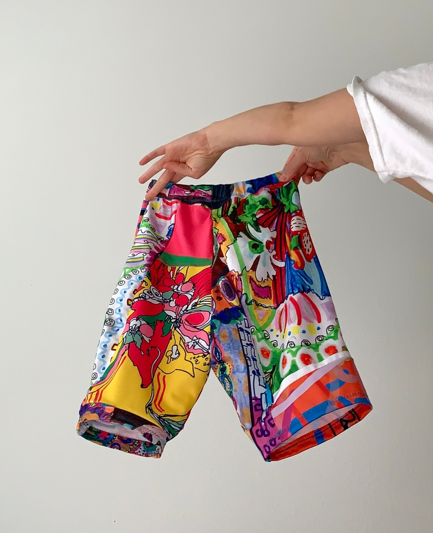 Mixed Art Print Patchwork Bike Shorts MADE TO ORDER