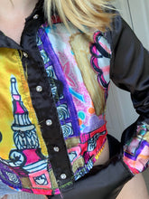Load image into Gallery viewer, 1of1 XOXO Satin Babe Cropped Patchwork Satin Art Print Button Down
