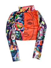 Load image into Gallery viewer, Mixed Art Print Patchwork Cropped Long Sleeve 2