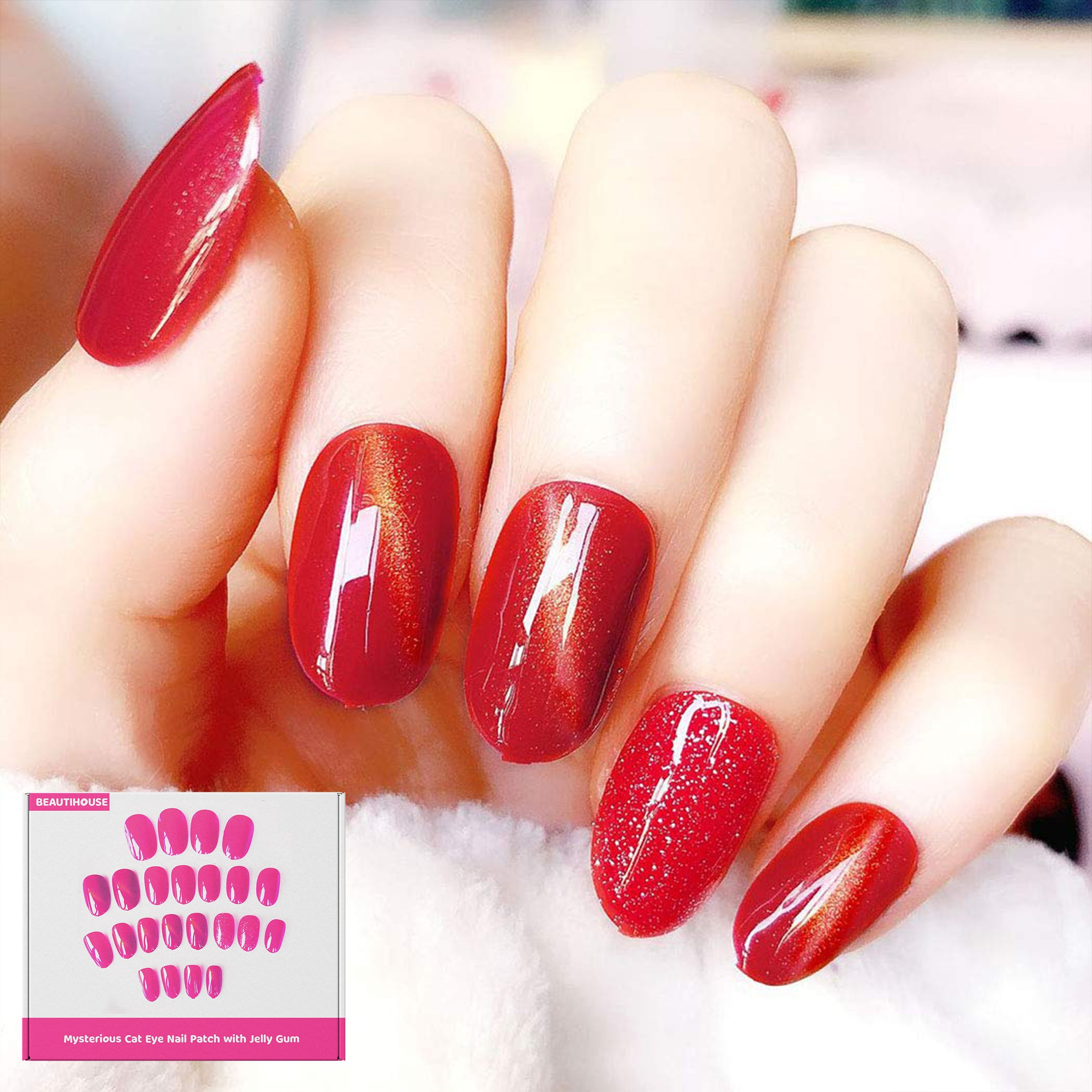 Mysterious Cat Eye Nail Patch with Jelly Gum™ | Salon kwaliteit nagels| ALLEEN VANDAAG 1+1 GRATIS!