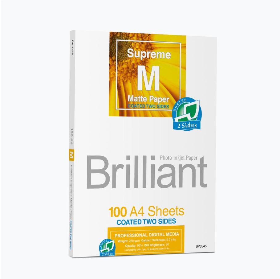 Brilliant Supreme Ink Jet paper, DIN A4, 100 sheets, mat, double-sided coating 230g / m²