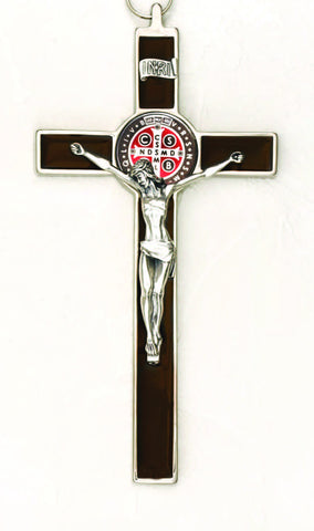 8 inch Foil Effect Brown with Brown Medal and Silver Toned St Benedict Hanging Crucifix Boxed - Beautiful Catholic Gifts