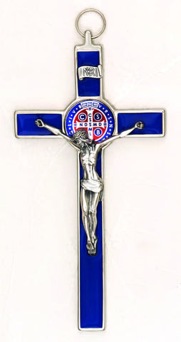 8 inch Foil Effect Blue with Blue Medal and Silver Toned St Benedict Hanging Crucifix Boxed - Beautiful Catholic Gifts