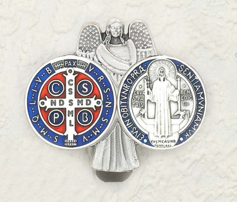 Saint Benedict Enameled Blue & Red - Beautiful Catholic Gifts