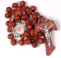 "19"" Pope Francis Tau Rosary (Wood) - Beautiful Catholic Gifts"